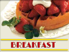 A waffle with strawberries on top of it and the word Breakfast under it.