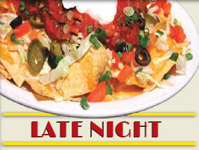 A plate of nachos with the phrase Late Night under it.