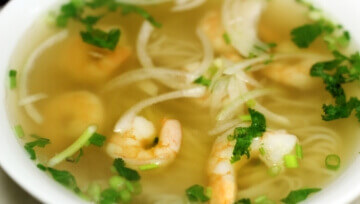 bowl of shrimp with broth