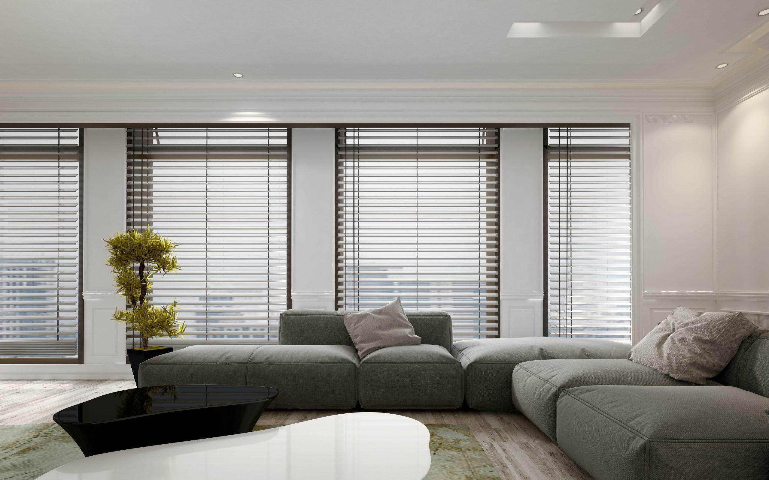 living room showing window shutters