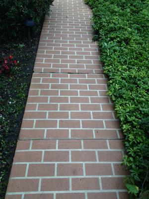 A clean brick sidewalk