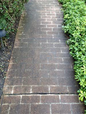 A dirty brick sidewalk