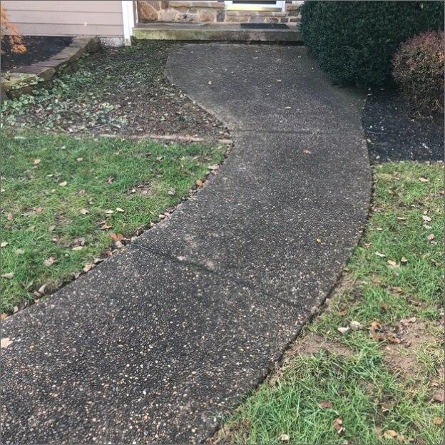 Dark brown sidewalk