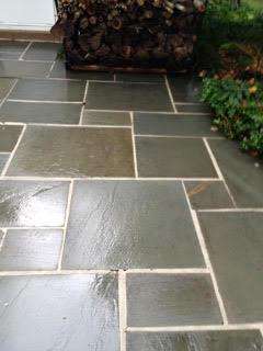 Slate patio after pressure wash