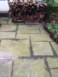 Slate patio before pressure wash