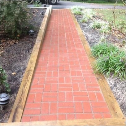 Brick walkway that's bright red after wash