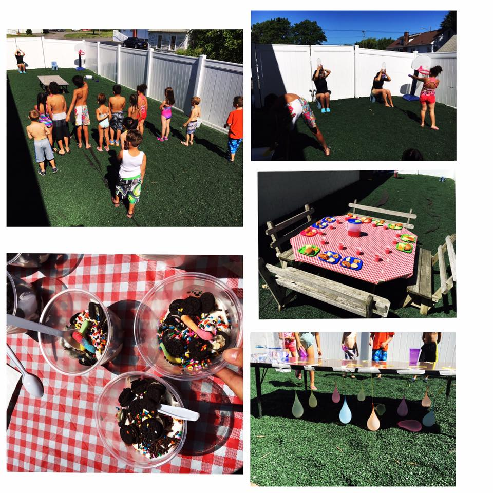 A collage of images of a picnic with ice cream and games!