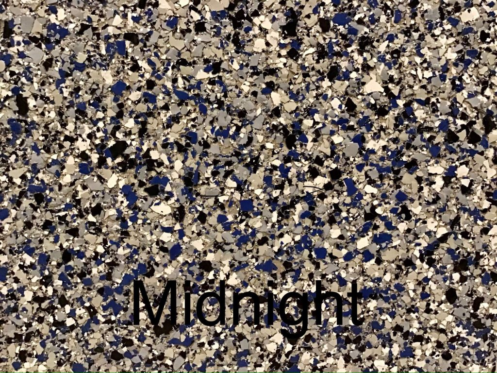 A floor color called midnight with gray, white, black and blue specks