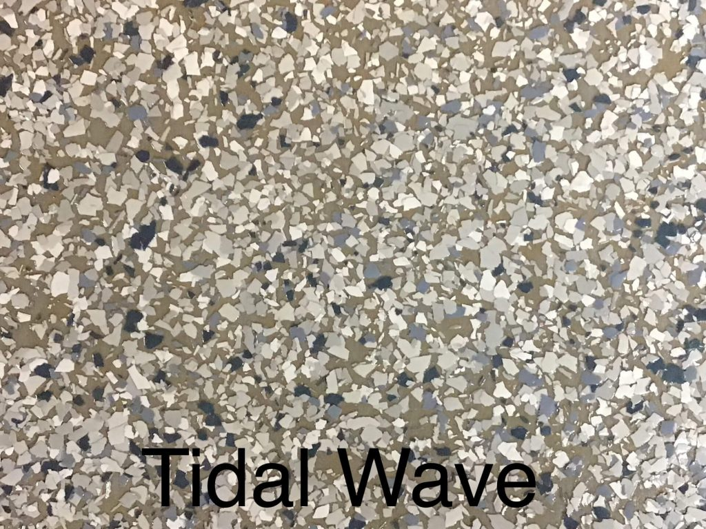 A floor color called tidal wave with brown, silvery gray, dark gray, and white specks