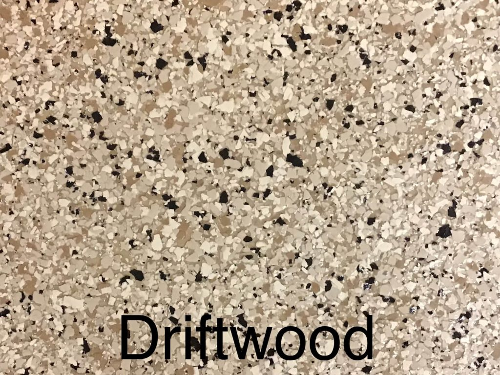 A floor color called driftwood with shades of brown and white specks.