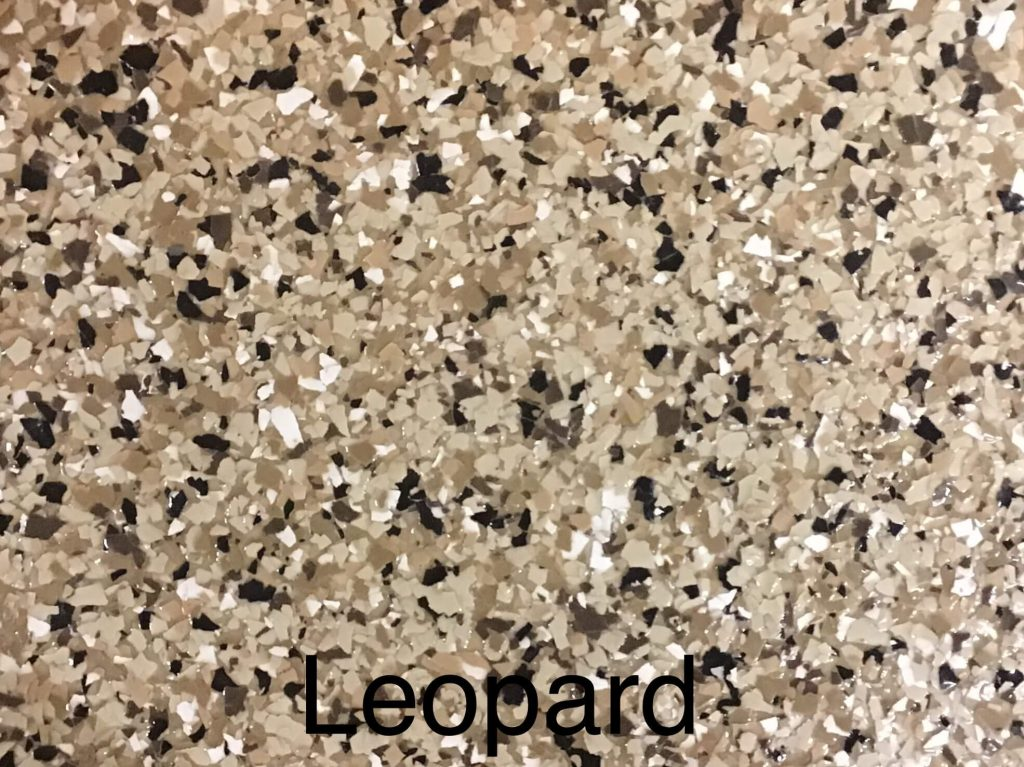 A floor color called leopard, with brown, white, black and light brown specks.