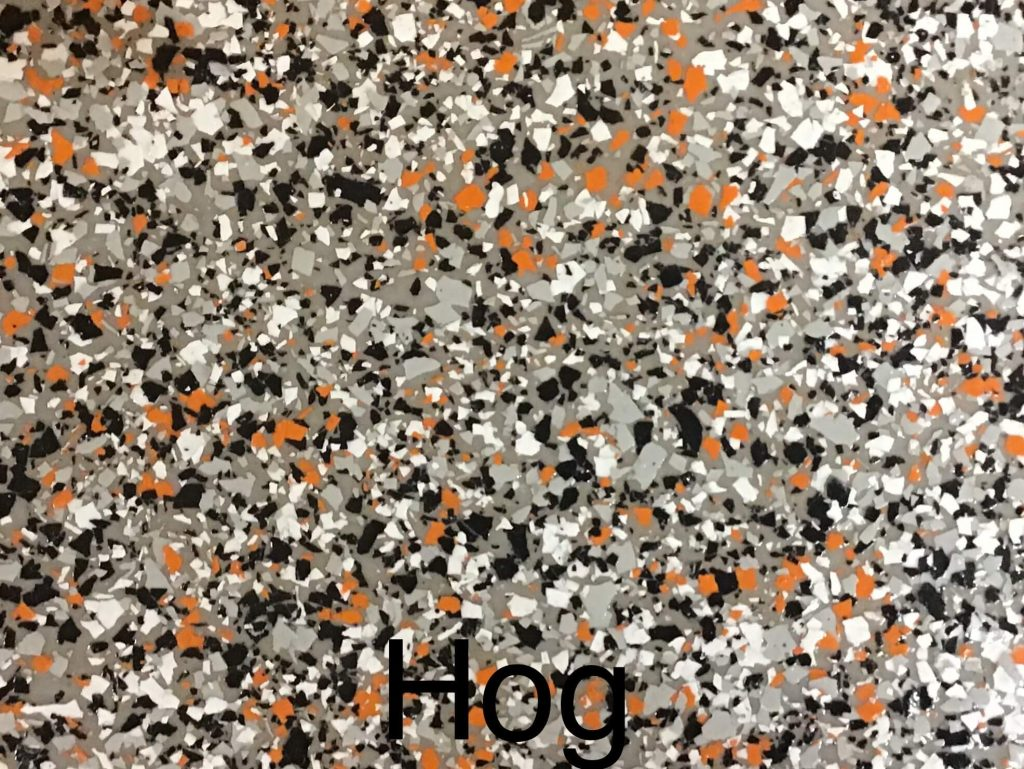 A floor color called hog with black, gray, white and orange specks