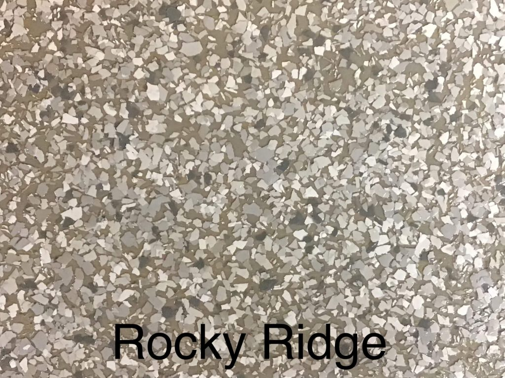 A floor color called rocky ridge with a gray brown speckled look