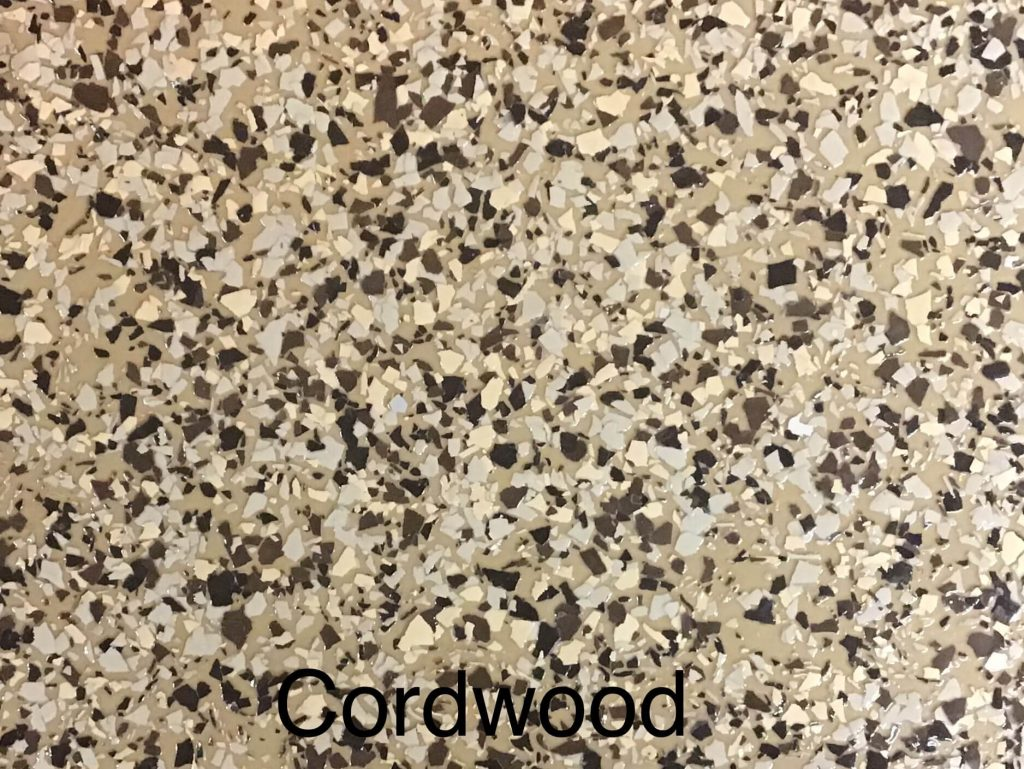 A floor color called cordwood with brown/yellow speckled appearance