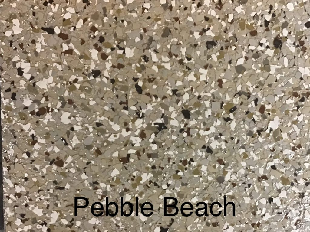 A floor color called pebble beach with an overall dark brown appearance.