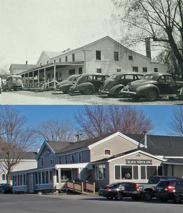 A comparison of the old Black North Inn building with the new one, from the same angle.