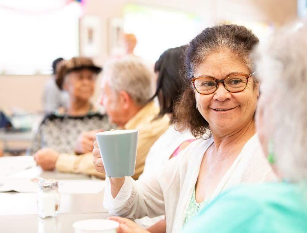 Seniors having some coffee