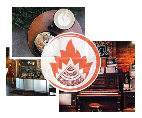 A collage of images with the Boulder Cafe and Lounge logo overlaid.
