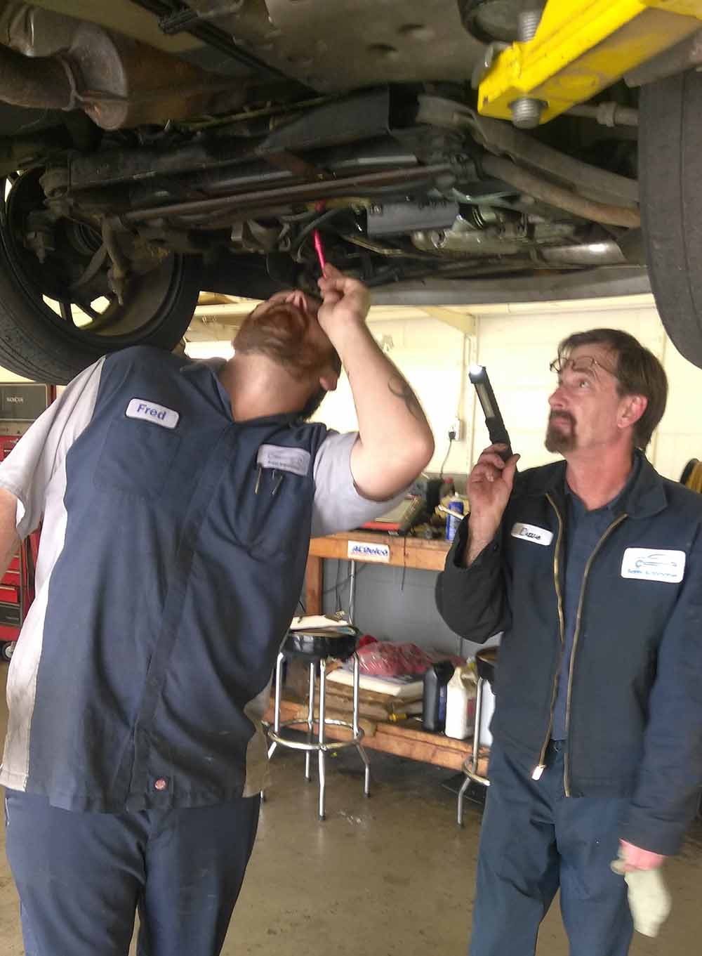 Our experts working on getting a car back on the road