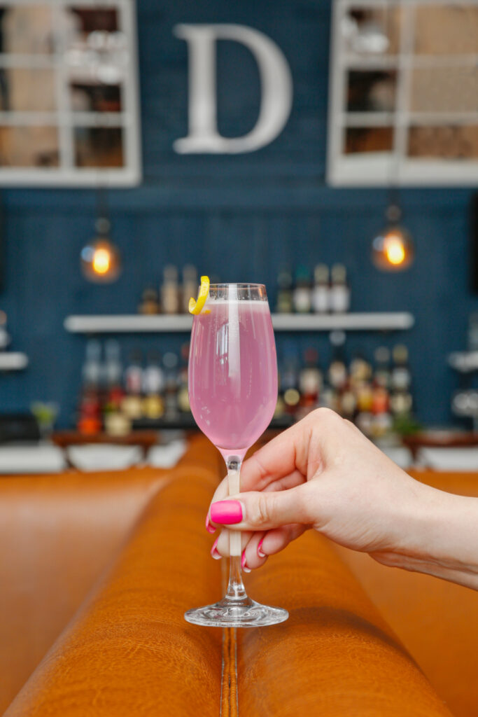 a refreshing pink cocktail from divina restaurant