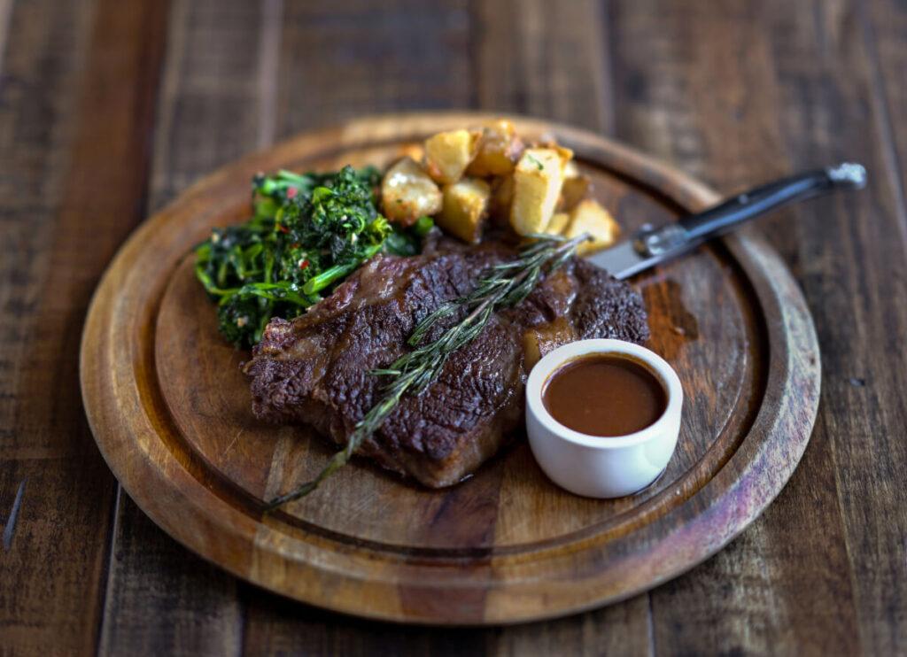 A plate of steak