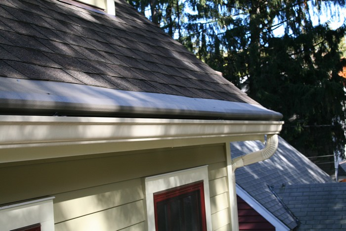 A roof with the gutter protection cover over the gutters.