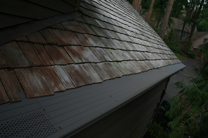 A wooden shingled roof with gutter protection covers over the gutters.