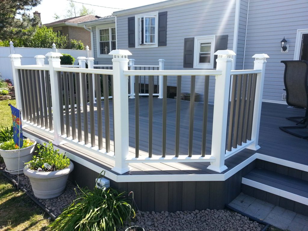 a porch with a railing