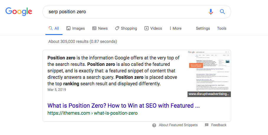 A screenshot of position zero in a Google search
