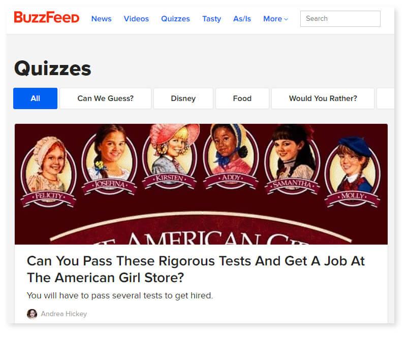 A Buzzfeed quiz