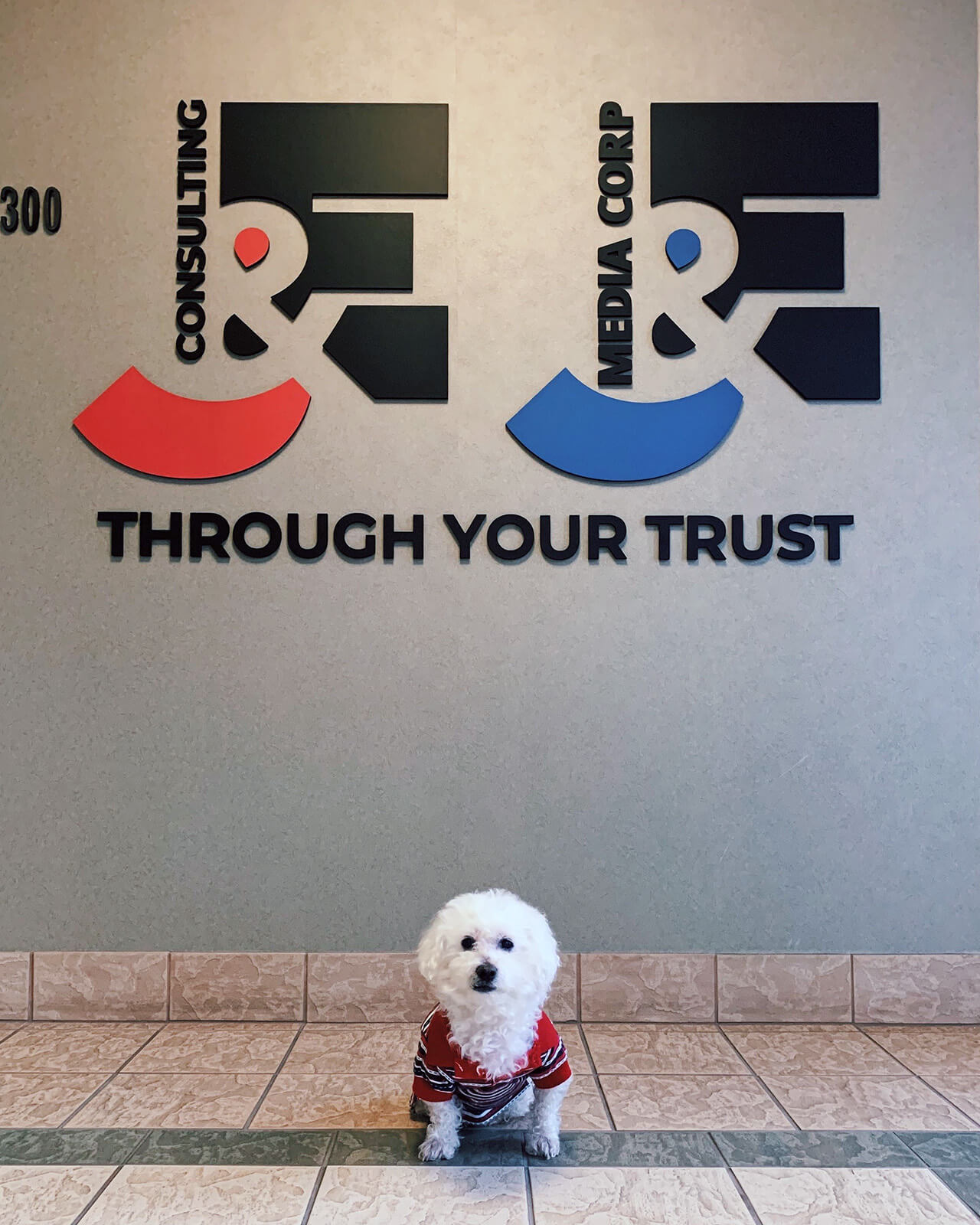"A cute ""guard dog"" in front of the J&E office"