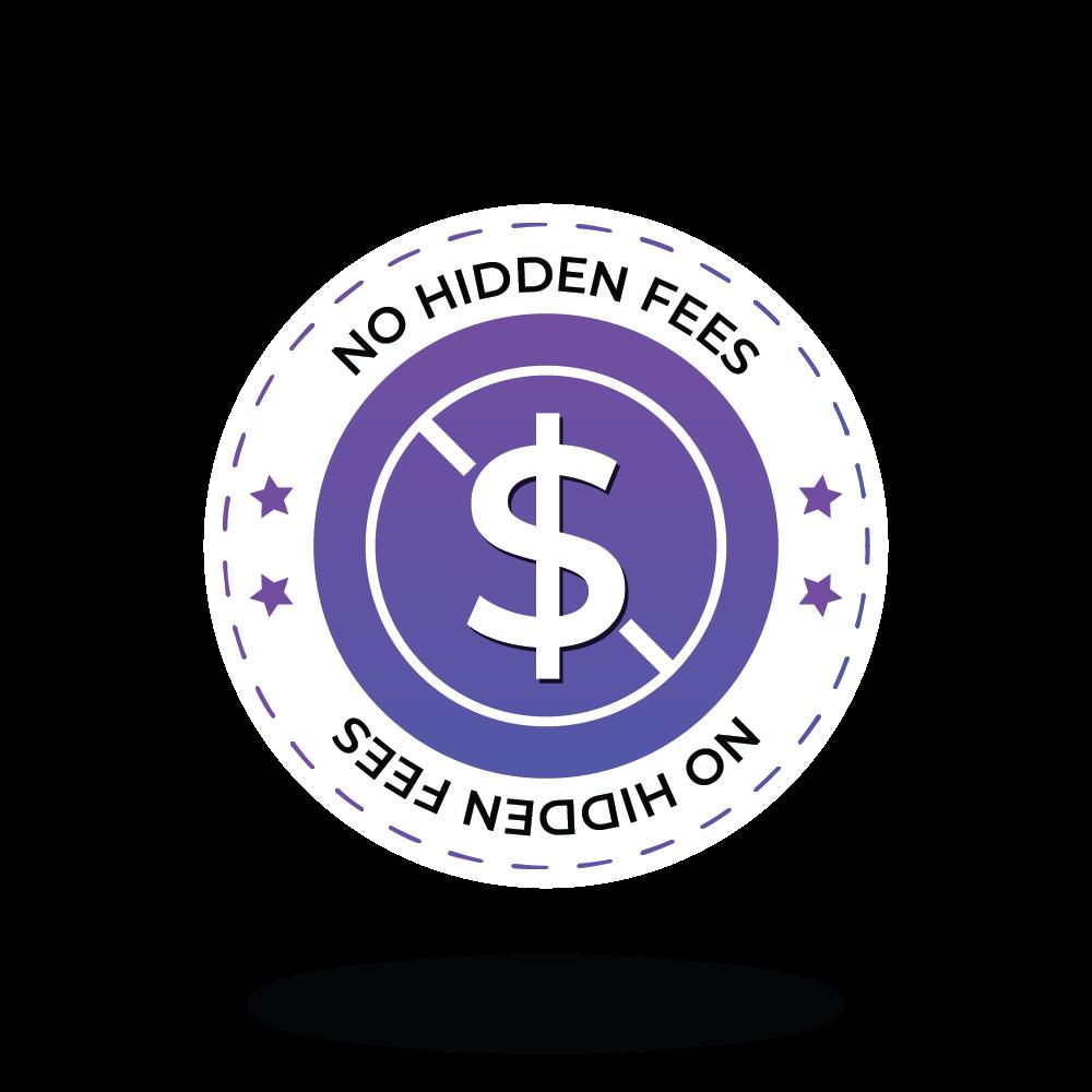 No hidden fees graphic