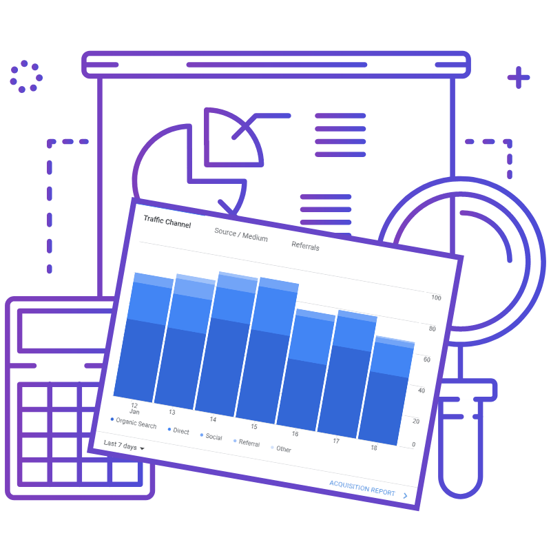 Illustration featuring charts and graphs