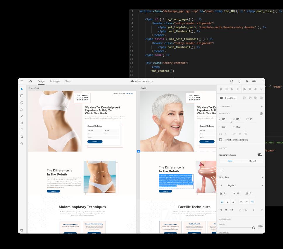 Web Design and Web Development Screen Shots Adobe XD Mockups and VS Code
