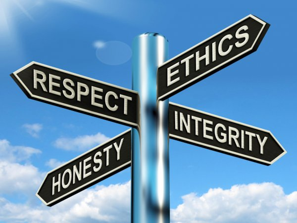 a signpost pointing to ethics, integrity, respect, and honesty. All are tenets of good ethical marketing