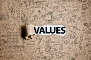 values written on paper
