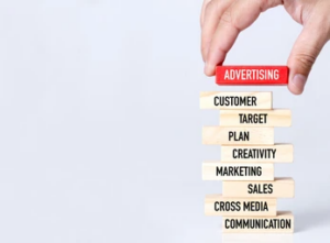 a number of blocks with components of advertising messages