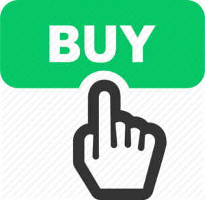 """an infographic stating """"buy"""" with a hand pointing to the word"""