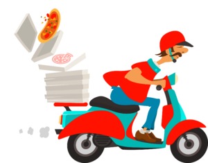 a cartoon man riding a motorcycle delivering a pizza that's flying off the back of his motorcycle