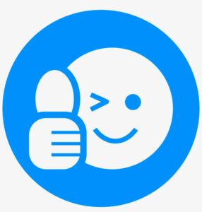 a cartoon smiley face giving thumbs up