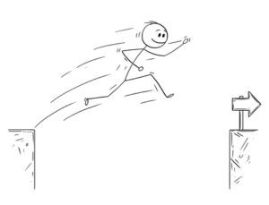 a stick figure jumping over obstacles
