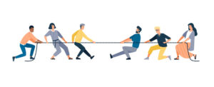 people in a tug of war