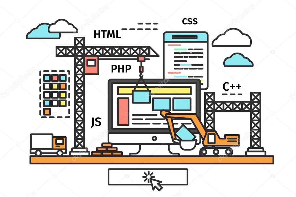 an infographic showing the components of a website, like HTML, CSS, and JS