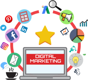 """an open laptop that says """"digital marketing"""" surrounded by icons of marketing techniques"""