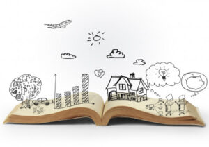 an open book, displaying pictures and graphics above, which represents the possibilities behind storytelling.