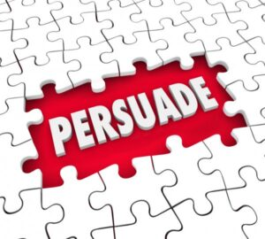 """a puzzle which says """"persuade""""."""