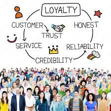 a group of people underneath a circule of words, which include loyalty, honesty, credibility, trust, and honest