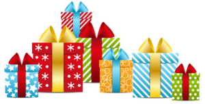 a collection of wrapped gift boxes for the holiday season