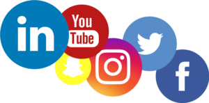 the logos for the biggest social media platforms, including facebook, twitter, instagram, youtube, and linkedin