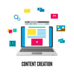 a computer surrounded by icons representing the tools for content creation.